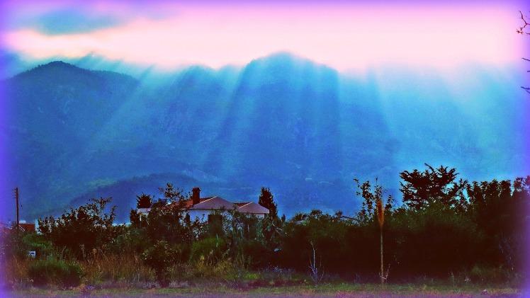 Sun on Besparmak Mountains