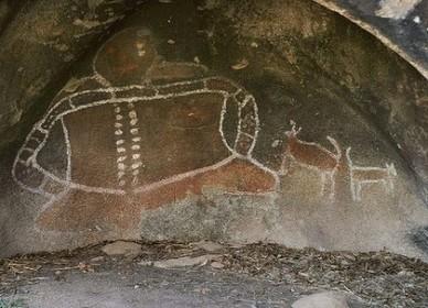 Aboriginal spirit Bunjil rock art near Stawall