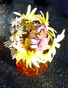 Another view of vase of spring flowers