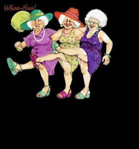 joyful old ladies dancing