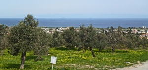 View from Black Olive Cafe over coast, with Turkey visible on the horizon