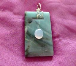 Amazonite pendant with moonstone