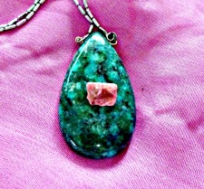 Chrysocolla pendant with pezzatoite, a pink beryl. I bought this in the UK and hoarded it as it's so small but decided it would look great on Chrysocolla, Aphrodite's stone.