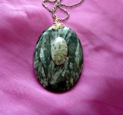 Seraphinite Pendant with Picasso Marble cabochon. I'm not too sure if Picasso Marble is quite the right word as I bought this cabochon years ago. I do know it's rare.