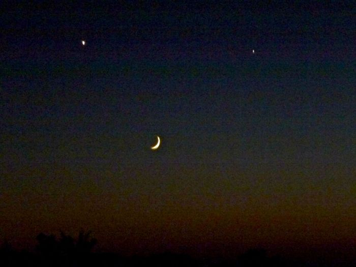 Moon,  Venus & Jupiter at sunset