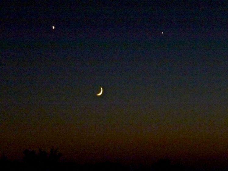 Moon,  Venus & Jupiter at sunset